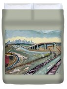 Stormy Train Tracks And San Francisco  Duvet Cover