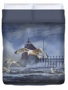Stormy Weather At The Grand Haven Lighthouse Duvet Cover