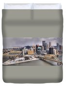 Stormy Winter Skies Over The Point Duvet Cover