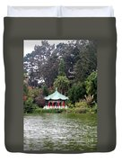 Stow Lake Chinese Pavilion Duvet Cover