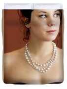 Strand Of Pearls Duvet Cover by Margie Hurwich
