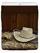 Straw Hat  On  Hay Duvet Cover