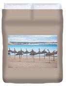 Straw Umbrellas On Empty Beach Duvet Cover