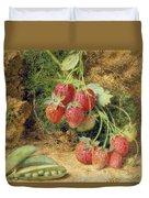 Strawberries And Peas Duvet Cover by John Sherrin
