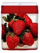Strawberries Expressive Brushstrokes Duvet Cover