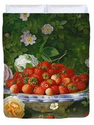 Strawberries In A Blue And White Buckelteller With Roses And Sweet Briar On A Ledge Duvet Cover by William Hammer