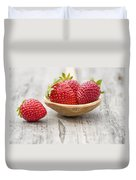 Strawberries In A Wooden Spoon Duvet Cover