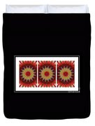 Strawberry Explosion Triptych - Kaleidoscope Duvet Cover