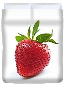 Strawberry On White Background Duvet Cover by Elena Elisseeva