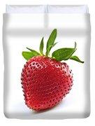 Strawberry On White Background Duvet Cover by Elena Elisseeva