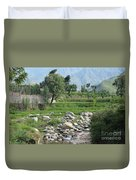 Stream Trees House And Mountains Swat Valley Pakistan Duvet Cover
