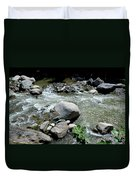 Stream Water Foams And Rushes Past Boulders Duvet Cover