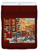 Street Hockey Practice Wilensky's Diner Montreal Winter Street Scenes Paintings Carole Spandau Duvet Cover