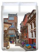 Street In Bhaktapur-city Of Devotees-nepal  Duvet Cover