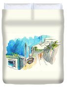 Street In Ericeira In Portugal Duvet Cover