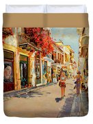 Street In Nafplio Greece Duvet Cover