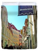 Street In Old Town Tallinn-estonia Duvet Cover