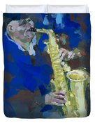 Street Jazzman Near Park  Duvet Cover