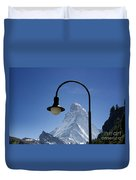 Street Lamp And Mountain Duvet Cover by Mats Silvan