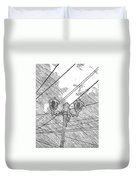 Street Lamps And Straight Lines Duvet Cover