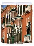 Street Lamps Of Venice Duvet Cover