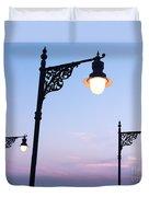 Street Lamps Over Sunset Sky Background Duvet Cover
