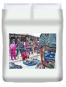 Street Market View From A Rickshaw In Kathmandu Durbar Square-nepal Duvet Cover