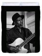 Street Musician Black And White Duvet Cover