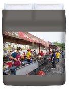 Street Restaurant In Phnom Penh Cambodia Duvet Cover