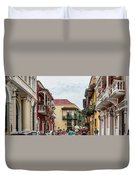 Street Scene In Old Town, Cartagena Duvet Cover
