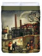 Street Scene In Paris, 1926 Duvet Cover