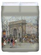 Street Scene In Paris Duvet Cover by Eugene Galien-Laloue