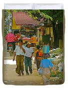 Street Scene In Tachilek-burma Duvet Cover
