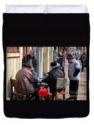Street Scene With Mahjong Game Shanghai China Duvet Cover