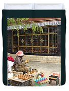 Street Shopkeeper In Lhasa-tibet Duvet Cover