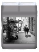 Street Vendor And Stairs In New York City Duvet Cover