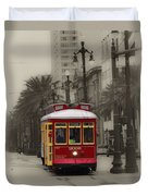Streetcar On Canal Street - New Orleans Duvet Cover