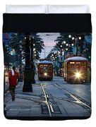 Streetcars On Canal Street Duvet Cover