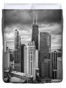 Streeterville From Above Black And White Duvet Cover