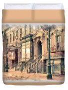 Streets Of Old New York City Watercolor Duvet Cover