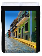 Streets Of Old San Juan Duvet Cover