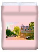 Streets Of Pointe St Charles Summer Scene Connies Pizza Rue Charlevoix Et Grand Trunk Carole Spandau Duvet Cover