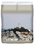 Streets Of San Francisco With Coit Tower Duvet Cover