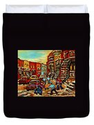 Streets Of Verdun Paintings He Shoots He Scores Our Hockey Town Forever Montreal City Scenes  Duvet Cover