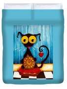 Stressie Cat And The Tick Tock Duvet Cover