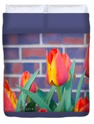 Striped Tulips Duvet Cover