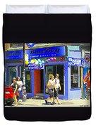 Strolling By The Blue Boy Frozen Yogurt Glacee Cafe Plateau Mont Royal City Scene Carole Spandau   Duvet Cover
