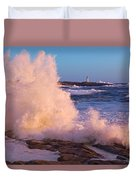 Strong Winds Blow Waves Onto Rocks Duvet Cover