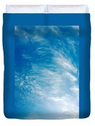 Strong Winds Forming Cirrus Clouds With A Deep Blue Sky. Duvet Cover