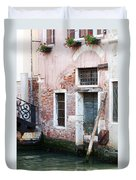 Stucco And Brick Canalside Building Venice Italy Duvet Cover